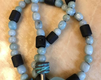 Handmade jewelry necklace baby blue & white jade beads