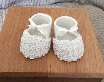 Porcelain Christening booties