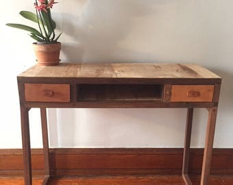 Walnut and Maple reclaimed wood console desk with leather details
