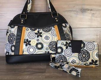 Sublime Bag, Large Handbag, Modern Geometric Floral Fabric, Yellow and Black, Diagonal Zippers