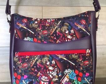 Harley Quinn Plumeria Shoulder Bag, Faux Leather, Purple Vinyl, Purple Lining, Suicide Squad, Dead Pool, Batman, Nerdy Chic
