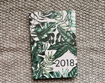 2018 - A5 - White Jungle Cover - Diary - Day to view - Calendar - New year - 2018 - Planner - Agenda