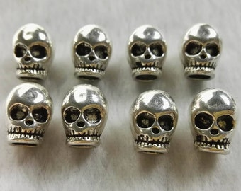 20pcs Skull Beads ,  Skull Head Beads , Large Hole Skull Jewelry ,  DIY Gothic Theme Jewelry , Wholesale Beads 12 x 9.5mm