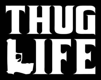 Thug Life decal sticker Laptop Window Car Truck Motorcycle Biker Moto Sale guns Ammo weapon Bullet