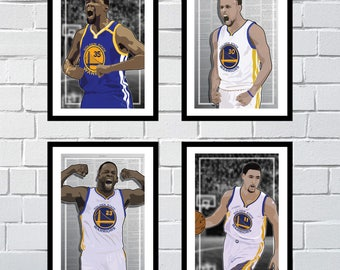 4 Posters of Golden State Warriors - Kevin Durant, Steph Curry, Draymond Green, Klay Thompson Art Prints - 4 Total (2-Sided)