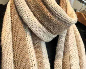 Paco-Vicuna Hand-Knitted Scarf, Beautiful Stripes, Grade 0 - Incredibly Soft & Luxurious!