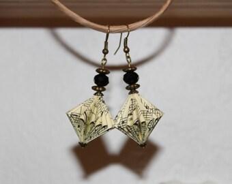 Music paper bead earrings.