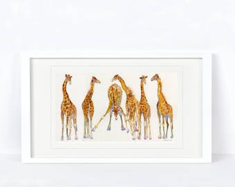Any Which Way - Giraffe, Wildlife, Africa. Printed from an Original Sheila Gill Watercolour. Fine Art, Giclee Print, Hand Painted,Home Decor
