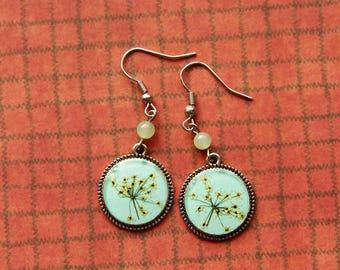 Floral Earrings Mint Green Earrings Epoxy Resin Earrings, Round earrings Queen Anne's lace Real Plant Earrings, Gift for Girl