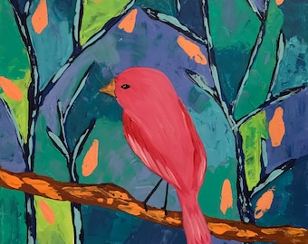 Relaxing, Original Acrylic painting , palette knife . Pink Bird, Tree. Whimsical painting. Canvas art.