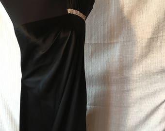 Black silk one shoulder evening gown