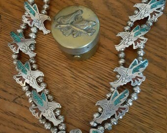 Native American Navajo Sterling Silver Eagle Chip Inlay Squash Blossom Necklace