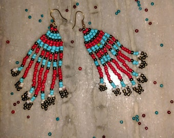 Unique red and blue beaded earrings