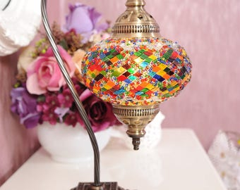 FREE SHIPPING Turkish Moroccan Handmade Mosaic  Swan Goose Neck Table Desk Bedside Night Accent  Lamp Light Lamp Shade Lampshade