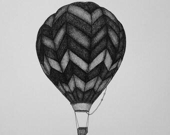 Hot Air Balloon Pen & Ink Print