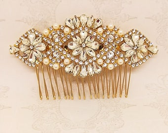 Gold crystal Hair Comb with pearls, Bridal hair Comb, Bridal Rhinestone Crystal Comb, Gold Veil Comb, Bride Hair Jewelry, Hair Accessories
