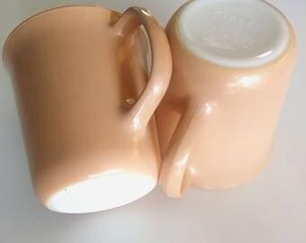 Sand/Almond Pyrex Corning Glass Coffee Mugs Set of 2