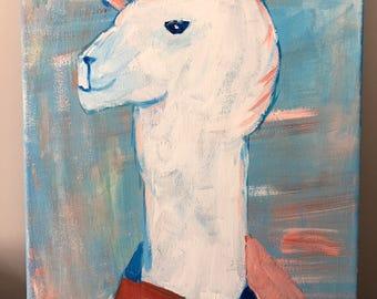 Original Llama Acrylic on Stretched Canvas 11 x 14