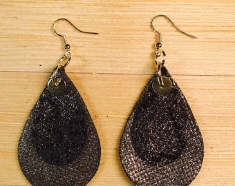 Double teardrop Leather earrings cow leather teardrop silver blue stainless steel hooks