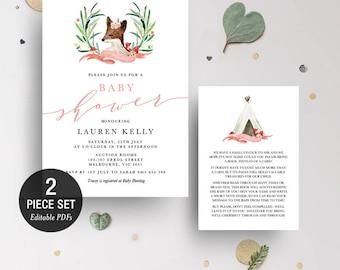 INSTANT DOWNLOAD Printable Fox Baby Shower Invitation Printable Template - Girl - BONUS Detail Card