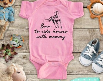 Born To Ride Horses Mommy - Cowgirl western cowboy Funny Baby Bodysuit Shower Gift - Made in USA - toddler kids youth shirt