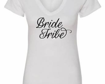 V Neck Bride Tribe Shirt - Bridal Shirt - Bridal Party Shirt - Glitter Team Bride Shirt