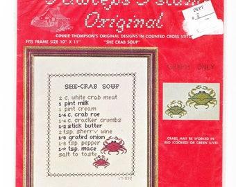 She-Crab Soup Recipe Cross Stitch PRINTED PATTERN from Pawleys Island South Carolina