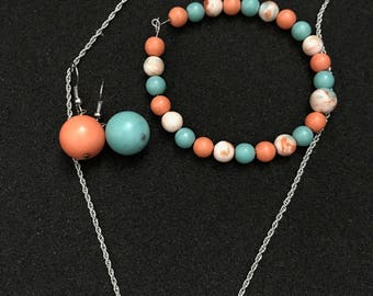 Coral and Teal set of 3