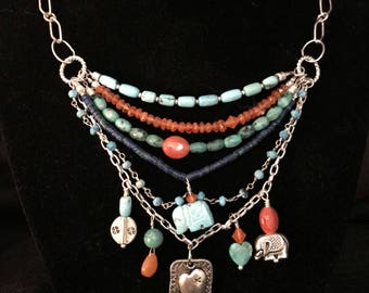 Southwest Multi-Strand Silver Heart and Turquoise Necklace