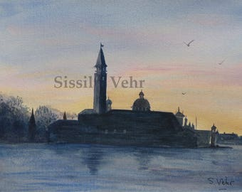 original watercolor painting, landscape, evening in Venice, basil, Italy, watercolor painting, Venice, Italy, landscape, sunset and church