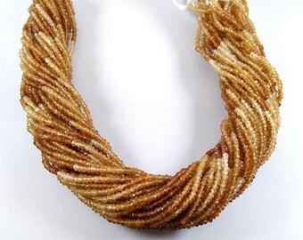 """2-2.5mm Hessonite Garnet Beads, Natural Hessonite Garnet Beads, Hessonite Garnet Gemstone, Hessonite Faceted Beads 13"""" Long Making Jewelry"""