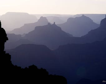 Photograph of the Grand Canyon, late afternoon from the south rim, printed on metal and ready to hang