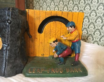 Vintage Cast Iron Leap Frog Mechanical Bank