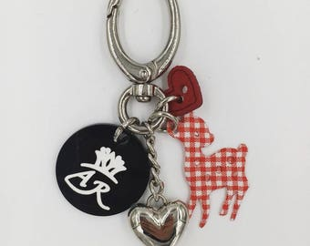 Key chain charms and red checkered deer