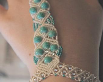 Macrame ring bracelet turquoise white winter, boho, jewellery, gypsy, indie, beach, summer, silver, fiber, woven, design, ice, snow, dancer