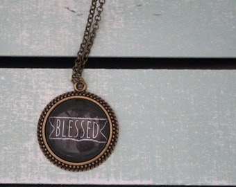 Charm glass Pendant Necklace Blessed