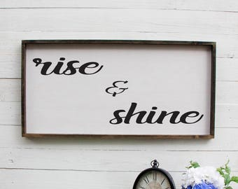 Rise And Shine Wooden Sign, Rustic Rise And Shine Wooden Sign, Rustic Kitchen Wooden Sign, Kitchen Sign, Rustic Kitchen, Wooden Sign Rustic