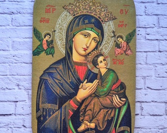 Our Lady of-Perpetual Help-Christian wall art-Catholic art-Virgin Mary-Godmother gift-Mother and Child-Wall hanging-Wooden-Handmade