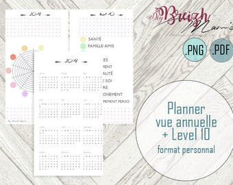 Planner, calendar year and level 10, printable personal size