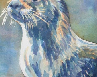 Watercolor of a River Otter