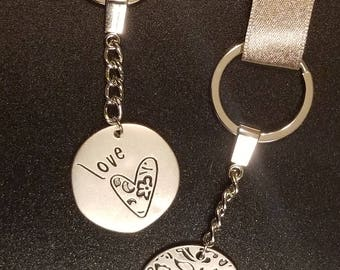 Love Heart Key Chains, Set of Two