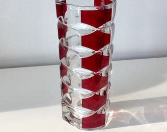 Vintage J G Durand Vase in Cranberry and Clear Glass Vase