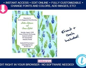 Palm Beach Chic Bridal Invitation, Bridal Shower Invitation, Bridal Shower Invite, Party Invitations, Instant Download, Fully Editable,PBCI1