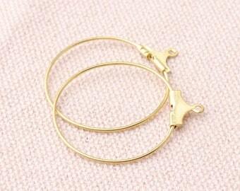 24pcs Beading Hoop Earring Hoop Gold Color Closed Hoop Drop Beads 26mm Round