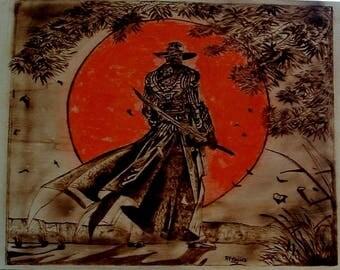 Samurai art, pyrography art, Japan wall decor, samurai with naginata, warrior with sword, japanese warlike, wood burning art, samurai armor