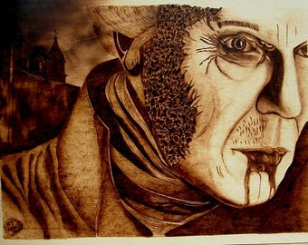 Pyrography art, dark souls, vampire pyrography, wood burning art, wood burned picture, dark souls image, rustic handcrafted wood, Dracula