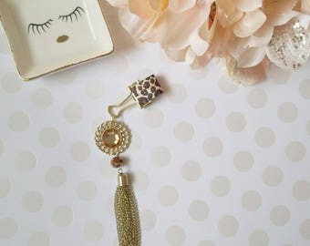 Jeweled Leopard; pen clips, pen loops