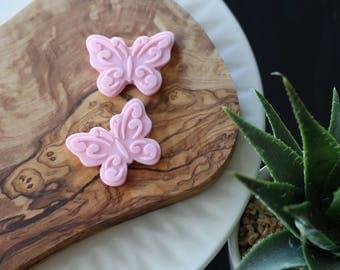 Pink fondant Butterflies, cupcakes, wedding, girl baby shower, girl birthday cake, sugar butterflies, edible butterflies
