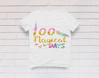 100 days svg, 100th day of school svg, 100 magical days svg, School svg, Teacher svg, Teacher shirt, SVG, DXF, eps, png, pdf, Unicorn svg