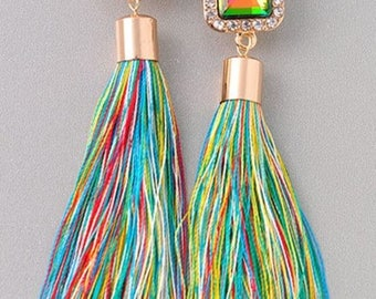 Multi Colored Tassel Earrings